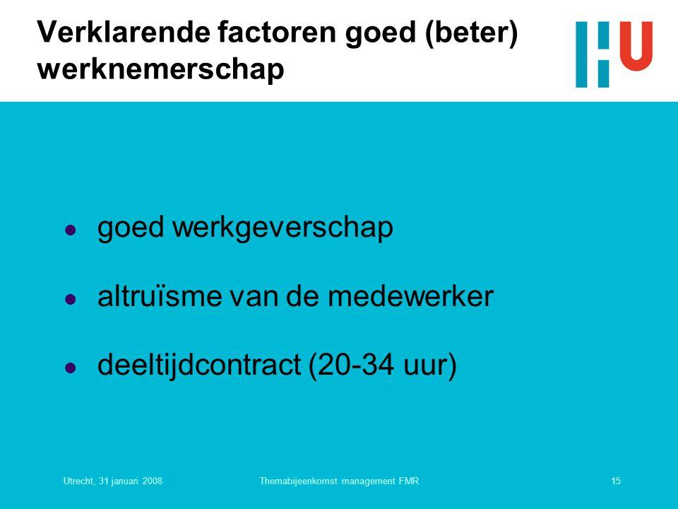 Utrecht, 31 januari 200815Themabijeenkomst management FMR Verklarende factoren goed (beter) werknemerschap  goed werkgeverschap  altruïsme van de me