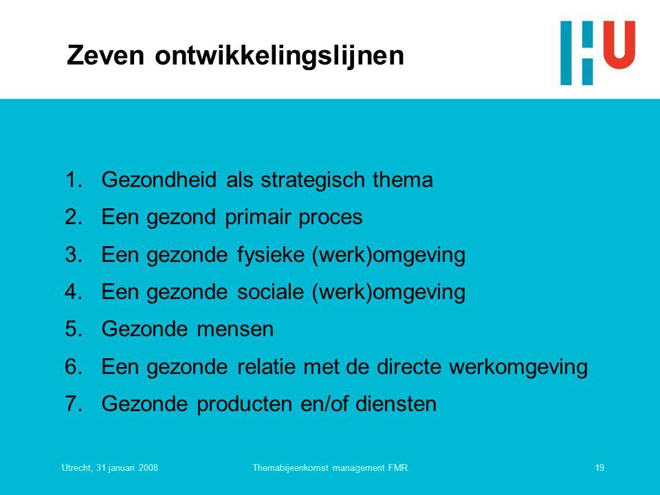 Utrecht, 31 januari 200819Themabijeenkomst management FMR Zeven ontwikkelingslijnen 1. Gezondheid als strategisch thema 2. Een gezond primair proces 3