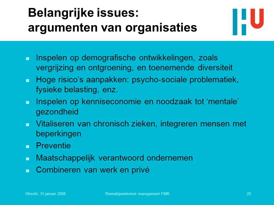 Utrecht, 31 januari 200820Themabijeenkomst management FMR Belangrijke issues: argumenten van organisaties n Inspelen op demografische ontwikkelingen,