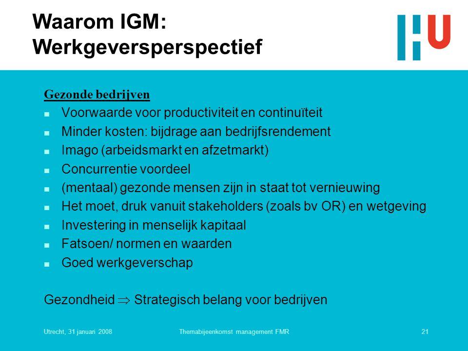 Utrecht, 31 januari 200821Themabijeenkomst management FMR Waarom IGM: Werkgeversperspectief Gezonde bedrijven n Voorwaarde voor productiviteit en cont