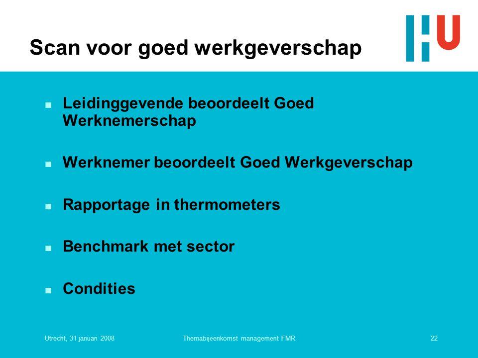 Utrecht, 31 januari 200822Themabijeenkomst management FMR Scan voor goed werkgeverschap n Leidinggevende beoordeelt Goed Werknemerschap n Werknemer be