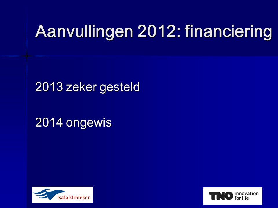 Aanvullingen 2012: financiering 2013 zeker gesteld 2014 ongewis