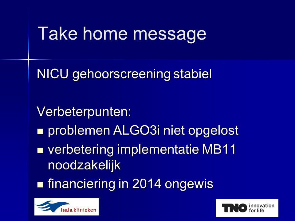 Take home message NICU gehoorscreening stabiel Verbeterpunten:  problemen ALGO3i niet opgelost  verbetering implementatie MB11 noodzakelijk  financiering in 2014 ongewis