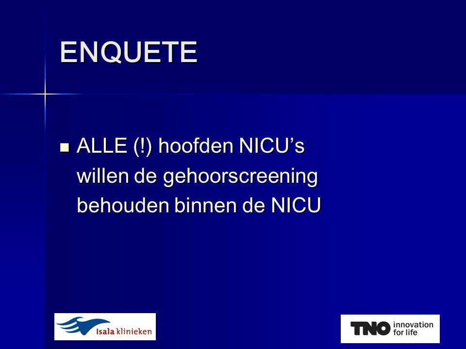ENQUETE  ALLE (!) hoofden NICU's willen de gehoorscreening behouden binnen de NICU