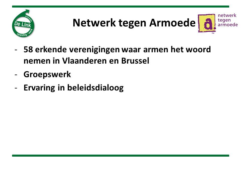 Netwerk tegen Armoede -58 erkende verenigingen waar armen het woord nemen in Vlaanderen en Brussel -Groepswerk -Ervaring in beleidsdialoog