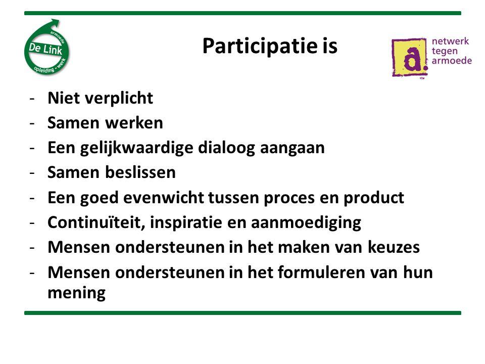 Participatie is -Niet verplicht -Samen werken -Een gelijkwaardige dialoog aangaan -Samen beslissen -Een goed evenwicht tussen proces en product -Continuïteit, inspiratie en aanmoediging -Mensen ondersteunen in het maken van keuzes -Mensen ondersteunen in het formuleren van hun mening
