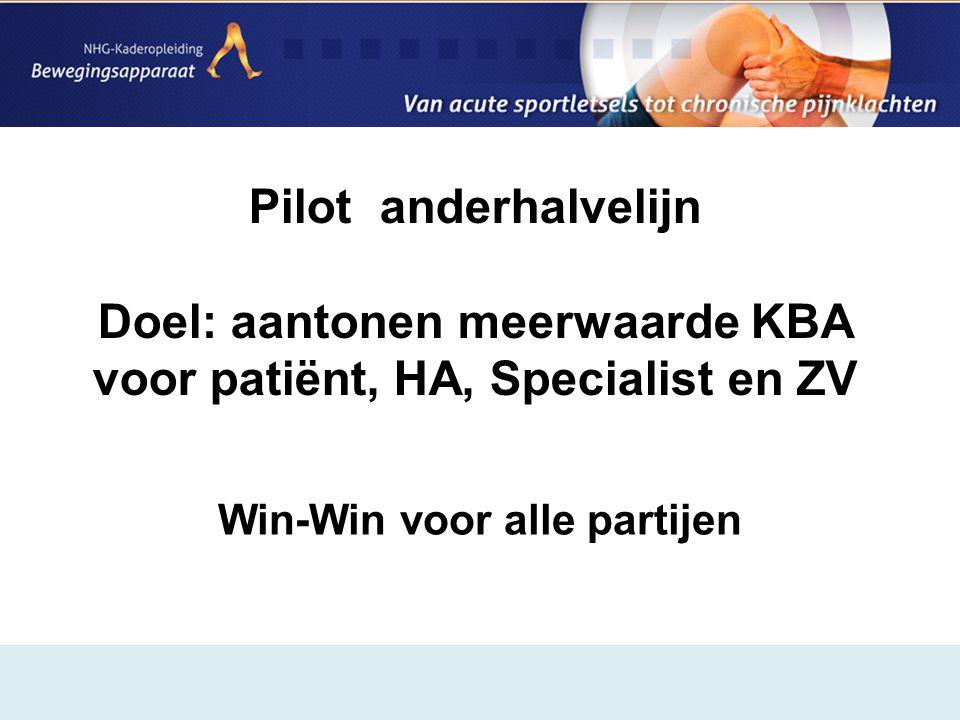 Pilot anderhalvelijn Doel: aantonen meerwaarde KBA voor patiënt, HA, Specialist en ZV Win-Win voor alle partijen