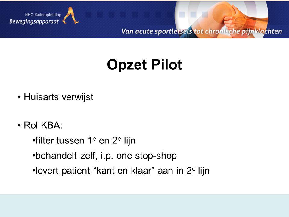 """Opzet Pilot • Huisarts verwijst • Rol KBA: •filter tussen 1 e en 2 e lijn •behandelt zelf, i.p. one stop-shop •levert patient """"kant en klaar"""" aan in 2"""