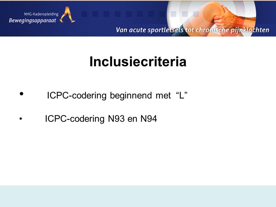 Inclusiecriteria • ICPC-codering beginnend met L • ICPC-codering N93 en N94