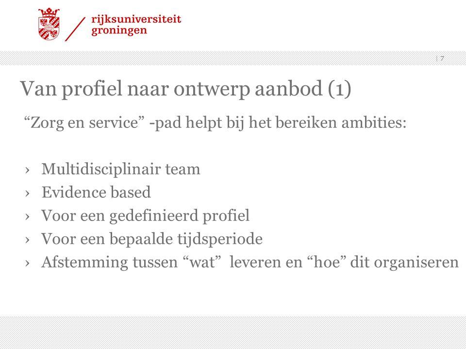 """  7 Van profiel naar ontwerp aanbod (1) """"Zorg en service"""" -pad helpt bij het bereiken ambities: ›Multidisciplinair team ›Evidence based ›Voor een gede"""