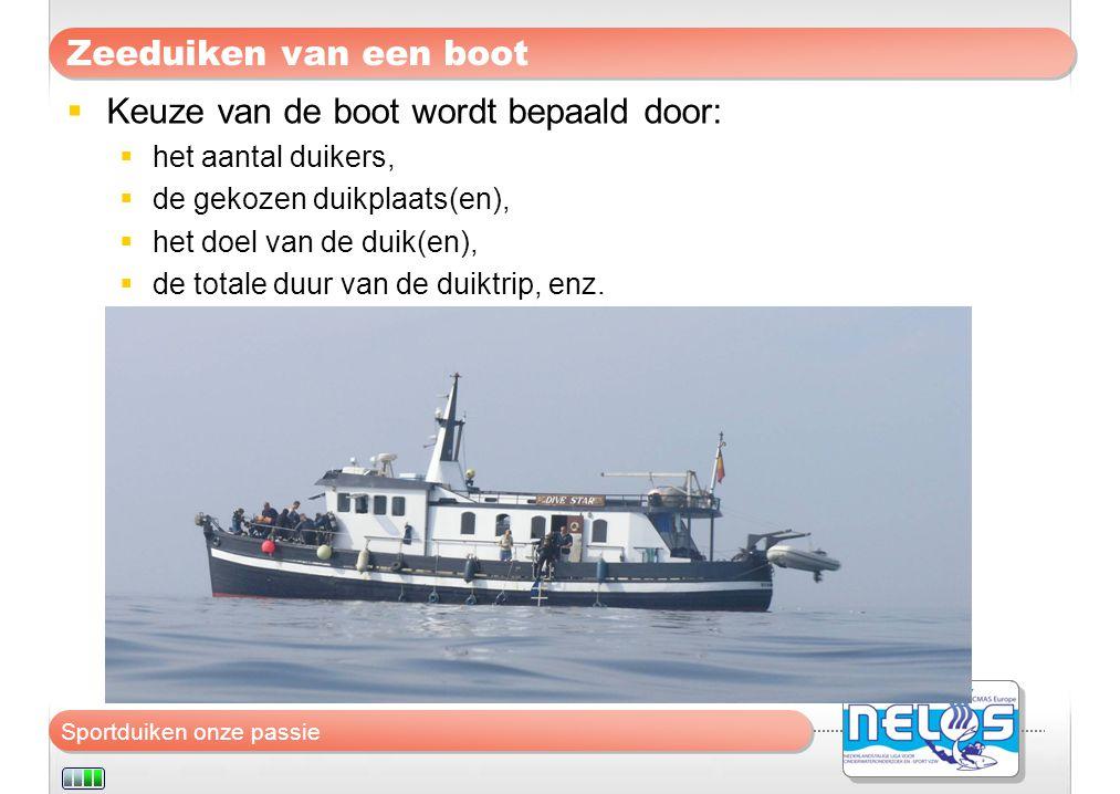 Sportduiken onze passie Zeeduiken van een boot  Keuze van de boot wordt bepaald door:  het aantal duikers,  de gekozen duikplaats(en),  het doel v