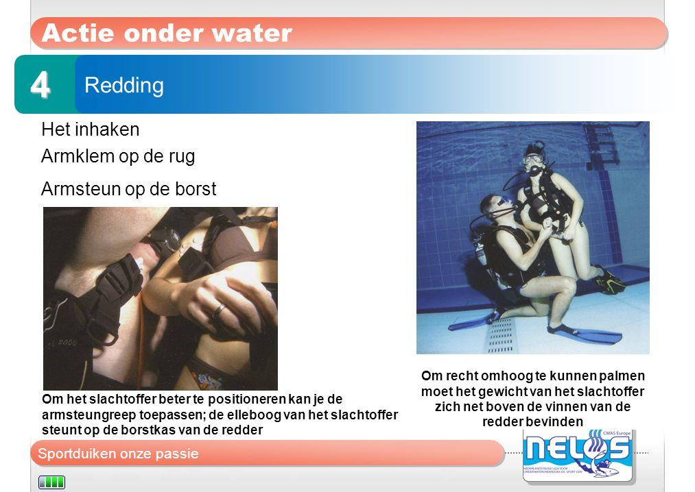 Sportduiken onze passie Actie onder water Het inhaken Armklem op de rug Armsteun op de borst Redding 4 Om recht omhoog te kunnen palmen moet het gewic