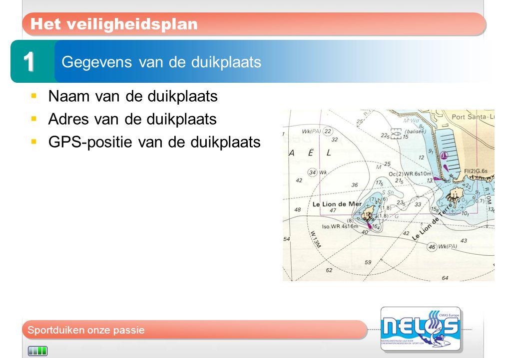 Sportduiken onze passie Het veiligheidsplan  Naam van de duikplaats  Adres van de duikplaats  GPS-positie van de duikplaats Gegevens van de duikpla