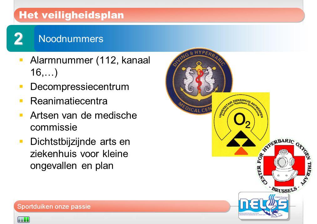 Sportduiken onze passie Het veiligheidsplan  Alarmnummer (112, kanaal 16,…)  Decompressiecentrum  Reanimatiecentra  Artsen van de medische commiss