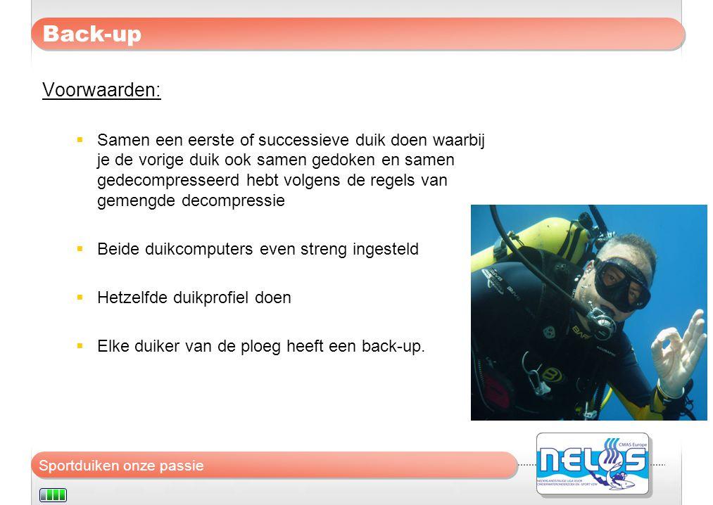 Sportduiken onze passie Back-up Voorwaarden:  Samen een eerste of successieve duik doen waarbij je de vorige duik ook samen gedoken en samen gedecomp