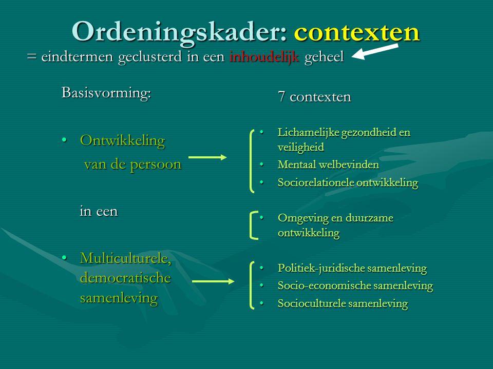 Ordeningskader: contexten Basisvorming: •Ontwikkeling van de persoon van de persoon in een •Multiculturele, democratische samenleving 7 contexten •Lic
