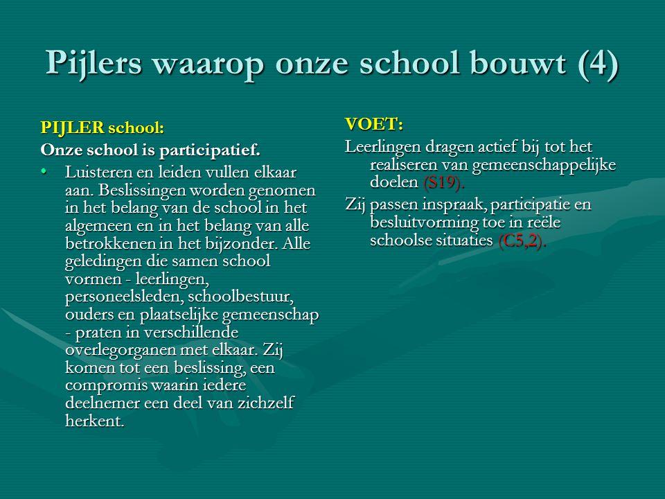 Pijlers waarop onze school bouwt (4) PIJLER school: Onze school is participatief. •Luisteren en leiden vullen elkaar aan. Beslissingen worden genomen