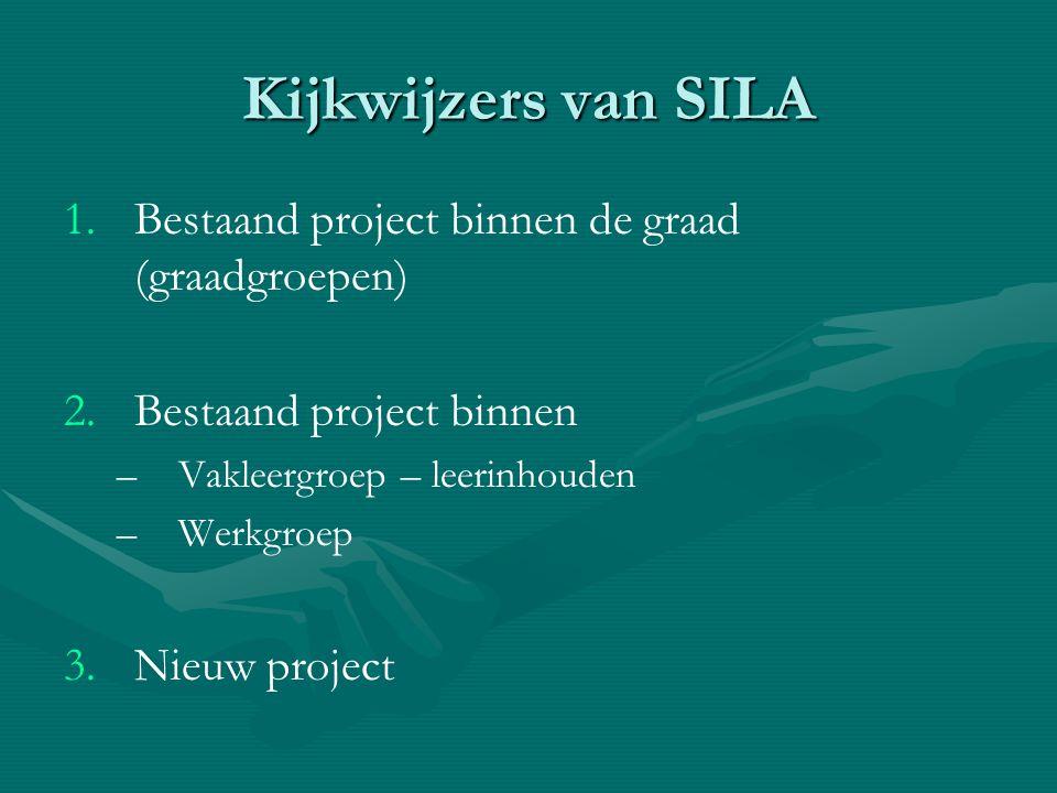 Kijkwijzers van SILA 1. 1.Bestaand project binnen de graad (graadgroepen) 2. 2.Bestaand project binnen – –Vakleergroep – leerinhouden – –Werkgroep 3.