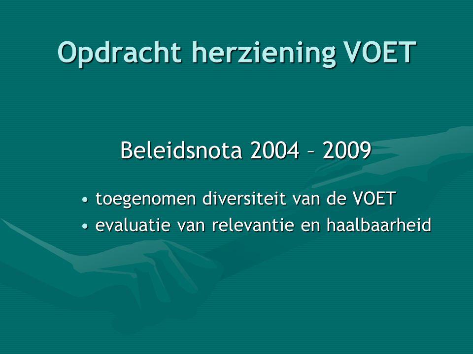 Opdracht herziening VOET Beleidsnota 2004 – 2009 • toegenomen diversiteit van de VOET • evaluatie van relevantie en haalbaarheid