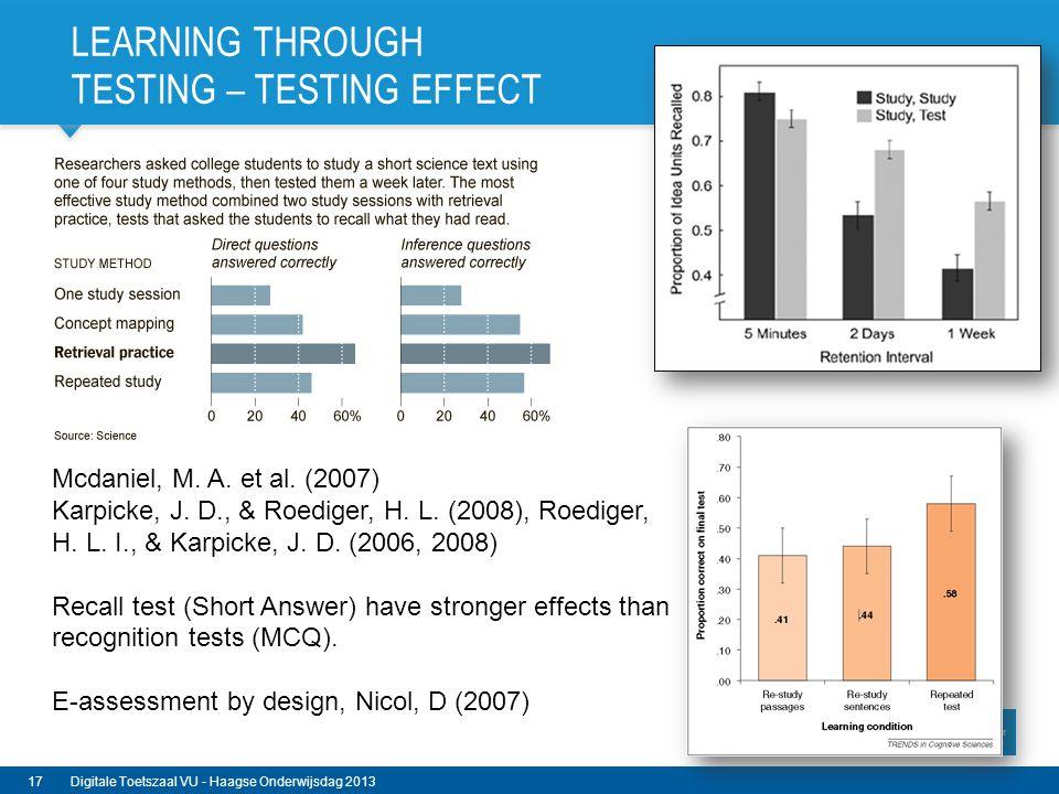LEARNING THROUGH TESTING – TESTING EFFECT Mcdaniel, M. A. et al. (2007) Karpicke, J. D., & Roediger, H. L. (2008), Roediger, H. L. I., & Karpicke, J.