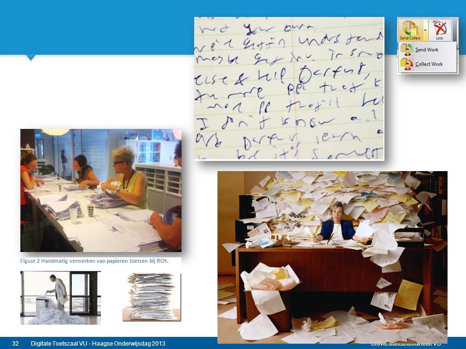 Universiteitsbibliotheek VU 32Digitale Toetszaal VU - Haagse Onderwijsdag 2013 Figuur 2 Handmatig verwerken van papieren toetsen bij RCH.