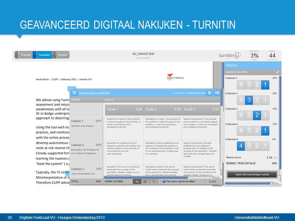 Universiteitsbibliotheek VU GEAVANCEERD DIGITAAL NAKIJKEN - TURNITIN 35Digitale Toetszaal VU - Haagse Onderwijsdag 2013