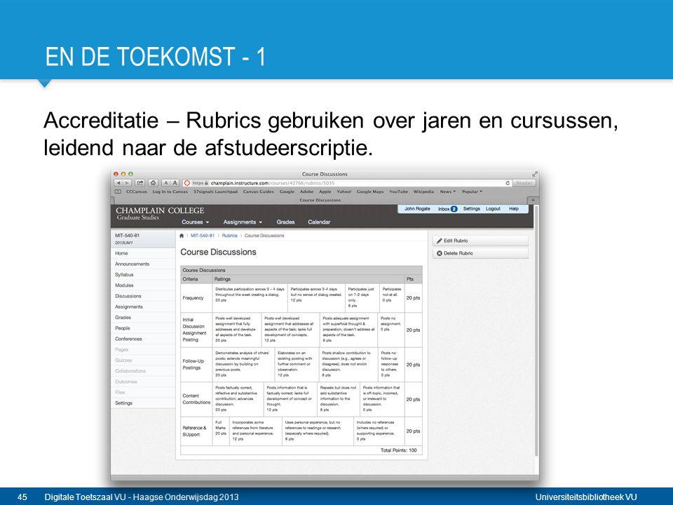 Universiteitsbibliotheek VU EN DE TOEKOMST - 1 Accreditatie – Rubrics gebruiken over jaren en cursussen, leidend naar de afstudeerscriptie. 45Digitale