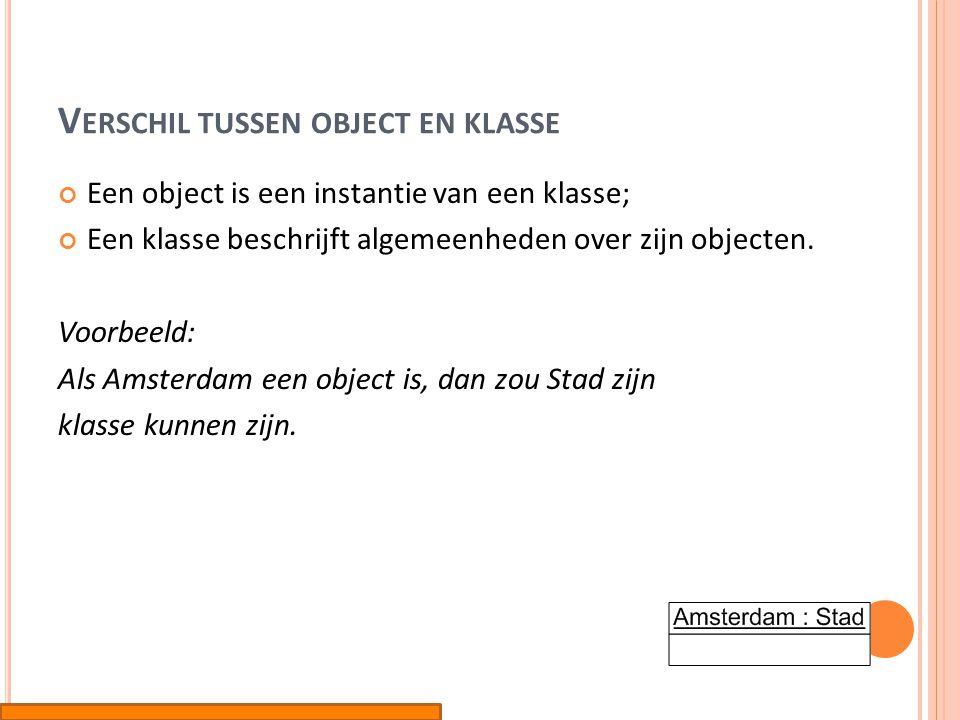 V ERSCHIL TUSSEN OBJECT EN KLASSE Een object is een instantie van een klasse; Een klasse beschrijft algemeenheden over zijn objecten. Voorbeeld: Als A