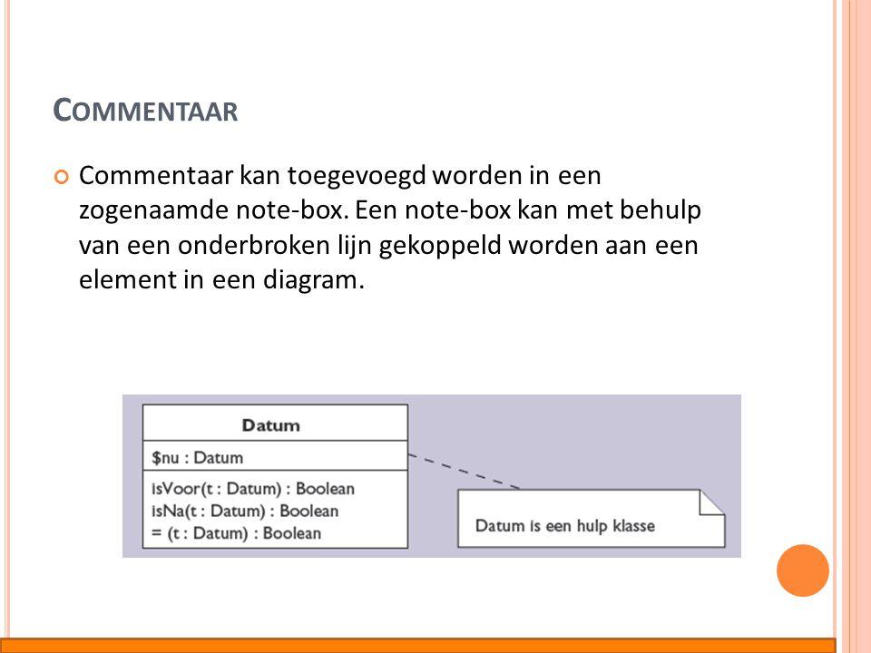 C OMMENTAAR Commentaar kan toegevoegd worden in een zogenaamde note-box. Een note-box kan met behulp van een onderbroken lijn gekoppeld worden aan een