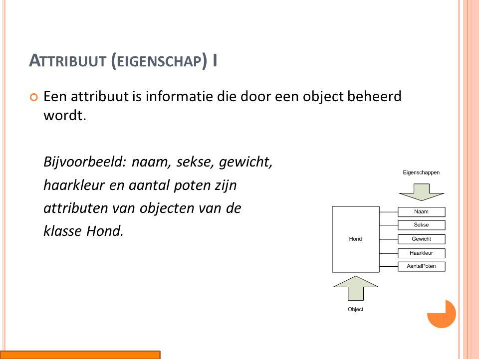 A TTRIBUUT ( EIGENSCHAP ) II Bij de attributen kunnen ook de datatypes genoteerd worden (string, integer, etc.)