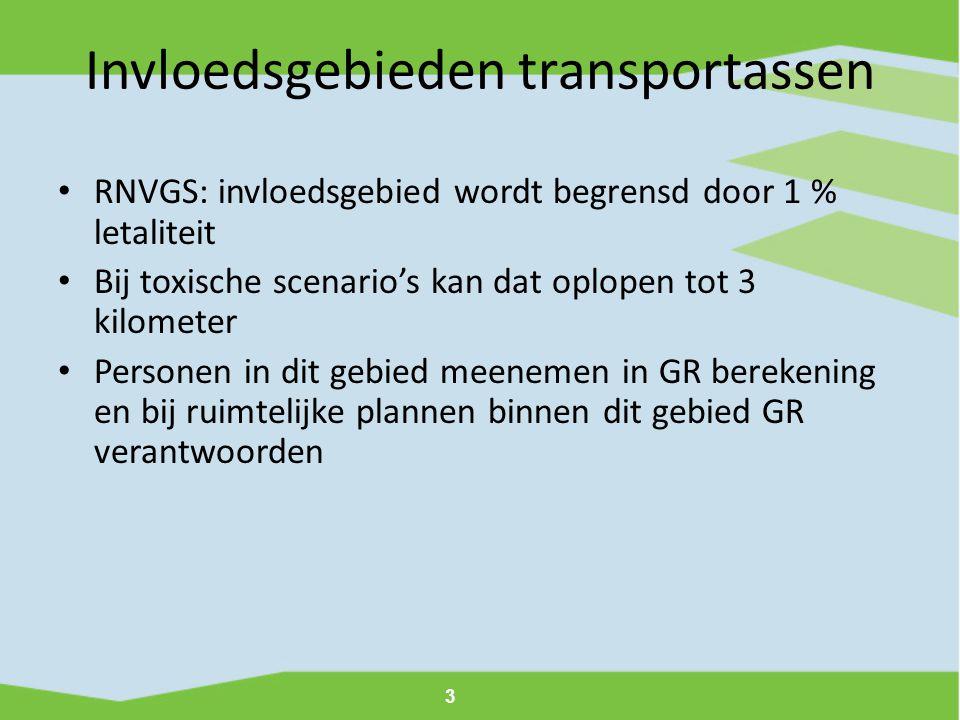 3 Invloedsgebieden transportassen • RNVGS: invloedsgebied wordt begrensd door 1 % letaliteit • Bij toxische scenario's kan dat oplopen tot 3 kilometer