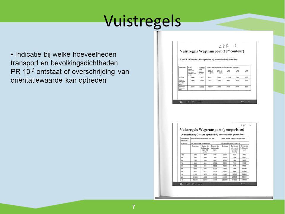 7 Vuistregels • Indicatie bij welke hoeveelheden transport en bevolkingsdichtheden PR 10 -6 ontstaat of overschrijding van oriëntatiewaarde kan optred