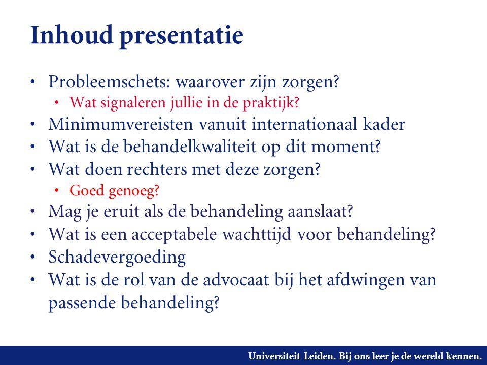 Universiteit Leiden. Bij ons leer je de wereld kennen. Inhoud presentatie • Probleemschets: waarover zijn zorgen? • Wat signaleren jullie in de prakti