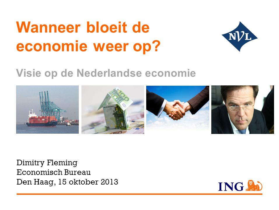 NL POR SPA ITA DUI GRI IER FRA BEL Omvang van economie (bbp) vergeleken met begin 2008 NL blijft achter bij Europese 'kern' Oorzaken voor uiteenlopen  Bezuinigingen  Huizenmarkt  Exportprofiel 2