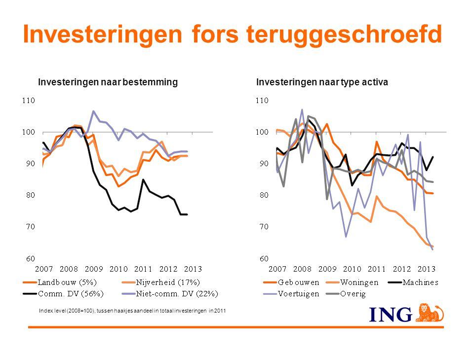Investeringen fors teruggeschroefd Investeringen naar type activaInvesteringen naar bestemming Index level (2008=100), tussen haakjes aandeel in totaa