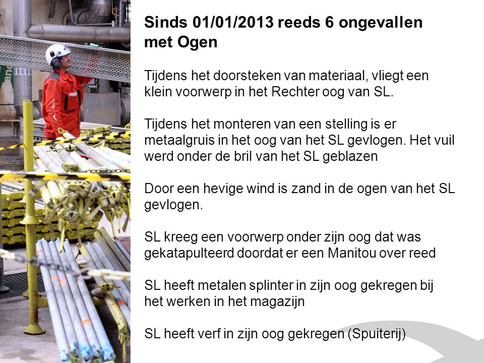 Sinds 01/01/2013 reeds 6 ongevallen met Ogen Tijdens het doorsteken van materiaal, vliegt een klein voorwerp in het Rechter oog van SL. Tijdens het mo