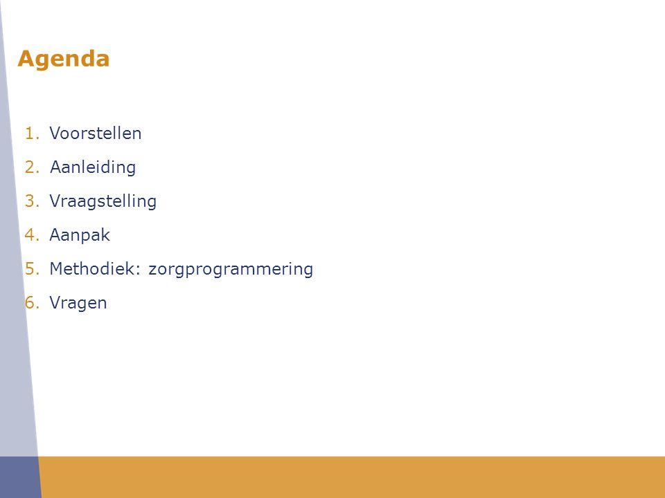 1.Voorstellen 2.Aanleiding 3.Vraagstelling 4.Aanpak 5.Methodiek: zorgprogrammering 6.Vragen Agenda