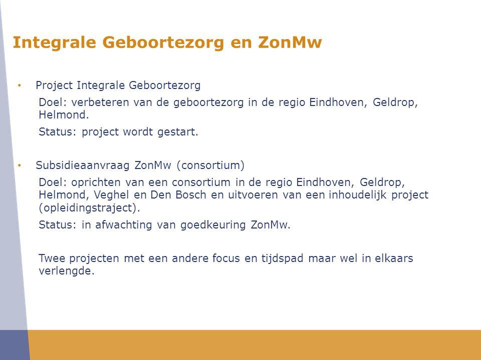 • Project Integrale Geboortezorg Doel: verbeteren van de geboortezorg in de regio Eindhoven, Geldrop, Helmond.