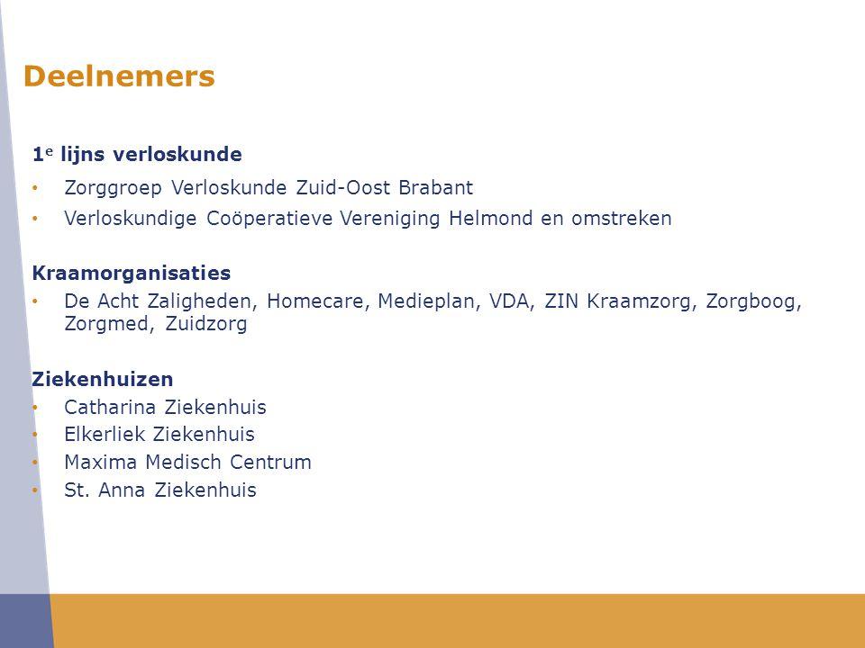 Zorginhoudelijke vraagstelling: 1.Uitvoeren nulmeting (inventariseren knelpunten) in de geboortezorg in de regio Zuid-Oost Brabant.