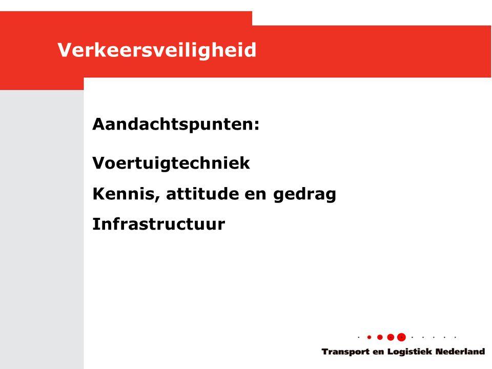 Verkeersveiligheid Aandachtspunten: Voertuigtechniek Kennis, attitude en gedrag Infrastructuur