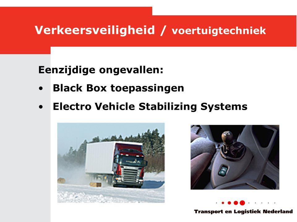 Verkeersveiligheid / voertuigtechniek Eenzijdige ongevallen: •Black Box toepassingen •Electro Vehicle Stabilizing Systems