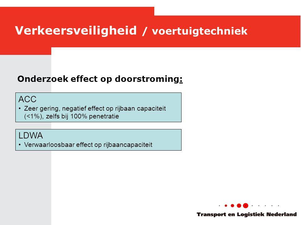 Verkeersveiligheid / voertuigtechniek ACC •Zeer gering, negatief effect op rijbaan capaciteit (<1%), zelfs bij 100% penetratie LDWA •Verwaarloosbaar effect op rijbaancapaciteit Onderzoek effect op doorstroming: