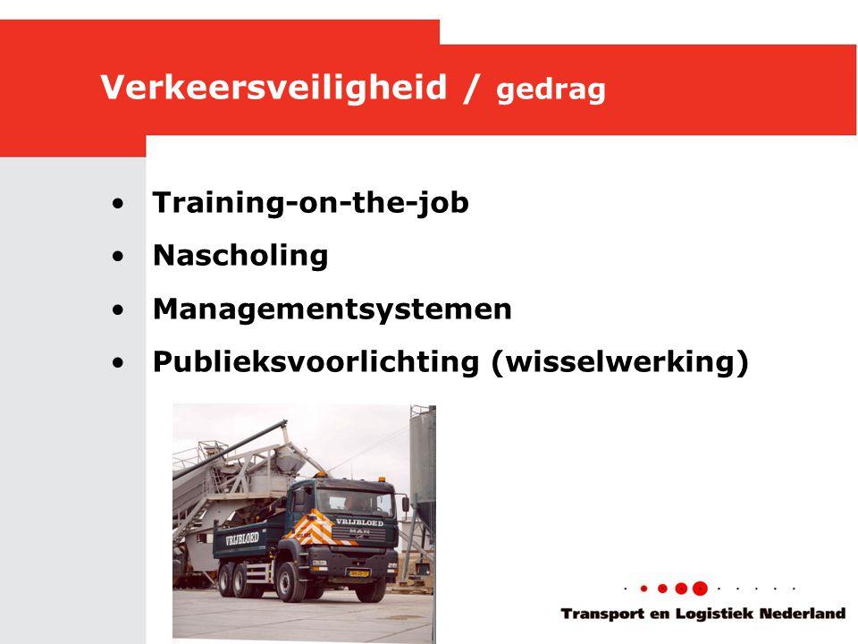 Verkeersveiligheid / gedrag •Training-on-the-job •Nascholing •Managementsystemen •Publieksvoorlichting (wisselwerking)