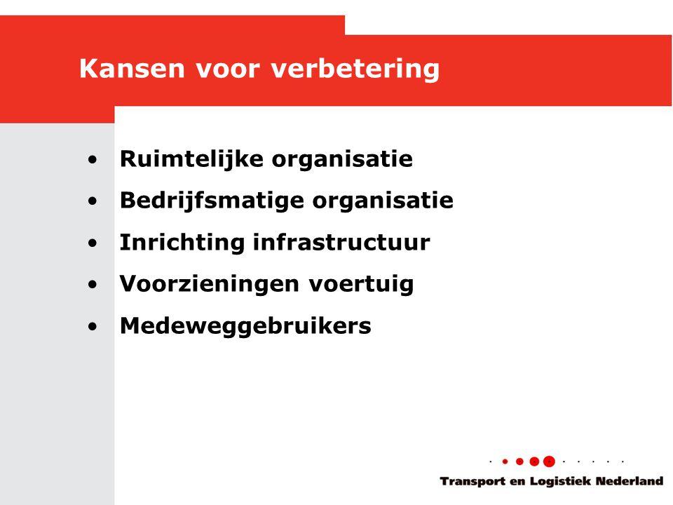 Kansen voor verbetering •Ruimtelijke organisatie •Bedrijfsmatige organisatie •Inrichting infrastructuur •Voorzieningen voertuig •Medeweggebruikers