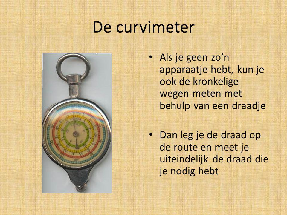 De curvimeter • Als je geen zo'n apparaatje hebt, kun je ook de kronkelige wegen meten met behulp van een draadje • Dan leg je de draad op de route en