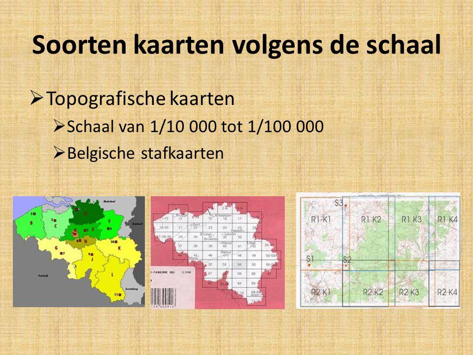 Soorten kaarten volgens de schaal  Topografische kaarten  Schaal van 1/10 000 tot 1/100 000  Belgische stafkaarten