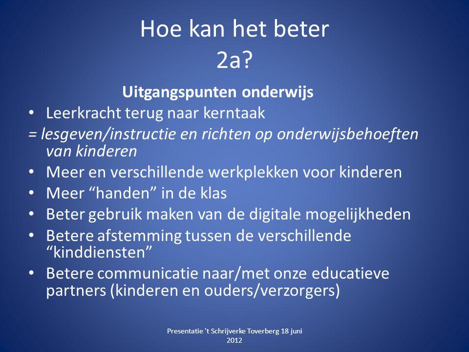 Hoe kan het beter 2a? Uitgangspunten onderwijs • Leerkracht terug naar kerntaak = lesgeven/instructie en richten op onderwijsbehoeften van kinderen •
