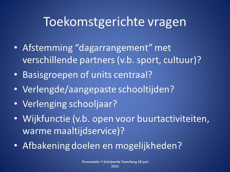 """Toekomstgerichte vragen • Afstemming """"dagarrangement"""" met verschillende partners (v.b. sport, cultuur)? • Basisgroepen of units centraal? • Verlengde/"""