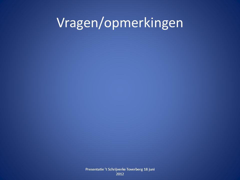Vragen/opmerkingen Presentatie 't Schrijverke Toverberg 18 juni 2012
