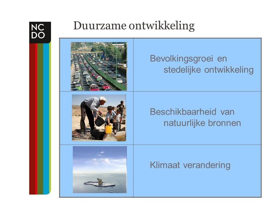 Duurzame ontwikkeling Bevolkingsgroei en stedelijke ontwikkeling Beschikbaarheid van natuurlijke bronnen Klimaat verandering